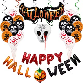Halloween Party Decorations Balloons Banner Kit Banners Hanging Skeleton Inflatables Pumpkin Horror Balloons Banner All in one Pack Kids Halloween Theme Party