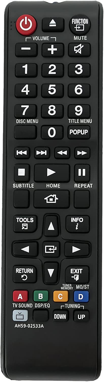 AIDITIYMI AH59-02533A Remote Control Replaced Fit for Samsung Blu-ray Home Theater System HT-J4100 HT-J4500 HT-J5500/ZA HT-J5500W HT-JM41 HT-F4500 HT-H4500 HT-H4530 HT-H5500W HT-H5500W/ZA HT-H5530