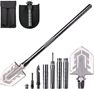 YBLANDEG Military Portable Folding Shovel,Multifunctional Ultimate Survival Shovel,Tactical Entrenching Tool for Camping, Hiking,Hunting,Fishing,Car