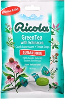 Ricola Sugar Free Cough Drops Green Tea with Echinacea 19 Each (Pack of 3)