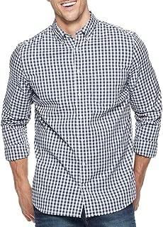 Sonoma Mens Classic Fit Flexwear Button Down Casual Shirt Blue White Gingham
