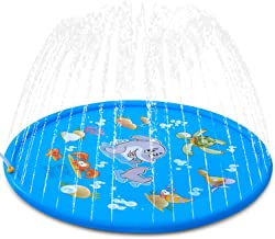 """ALWOA Splash Pad, 68""""Kids Sprinkler Pad for 1 2 3 4 5 Year Old Toodler Children Boys Girls, Inflatable Shark Water Toys Fun for Outdoor, Upgraded Sprinkle & Splash Play Mat with Wading Pool"""