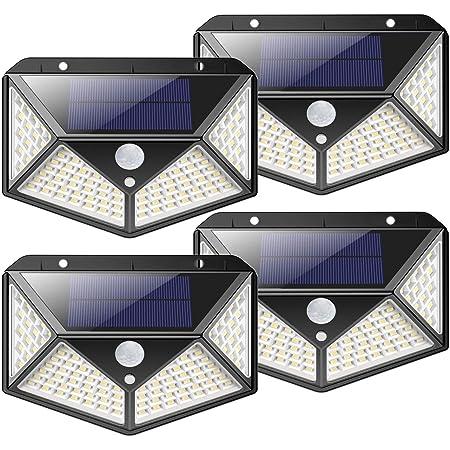 4er 100LED Solarleuchte mit Bewegungsmelder Solarlampe Sicherheit Außenleuchte