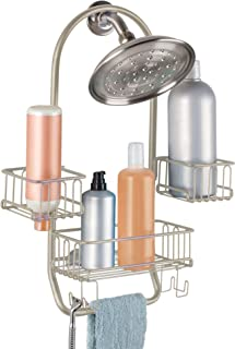 iDesign Classico Metal Swing Shower Caddy for Tall Shampoo, Conditioner, and Soap with Hooks for Razors, Towels, Loofahs, ...