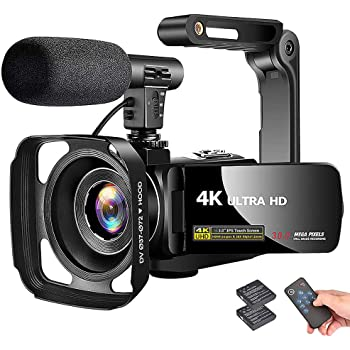 """4K Camcorder Video Camera Vlogging Camera Recorder with Microphone 30MP 3"""" LCD Touch Screen 18X Digital Zoom YouTube Camera with Remote Control"""