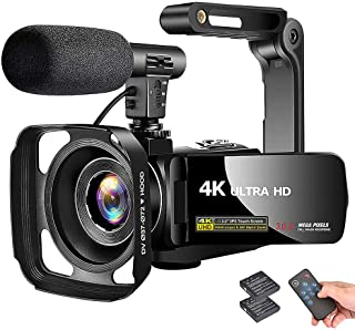 """4K Camcorder Video Camera Vlogging Camera Recorder with Microphone 30MP 3"""" LCD Touch Screen 18X Digital Zoom YouTube Camer..."""