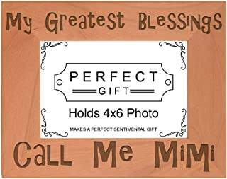 ThisWear Gift for Grandma Blessings Call Me Mimi Natural Wood Engraved 4x6 Landscape Picture Frame Wood