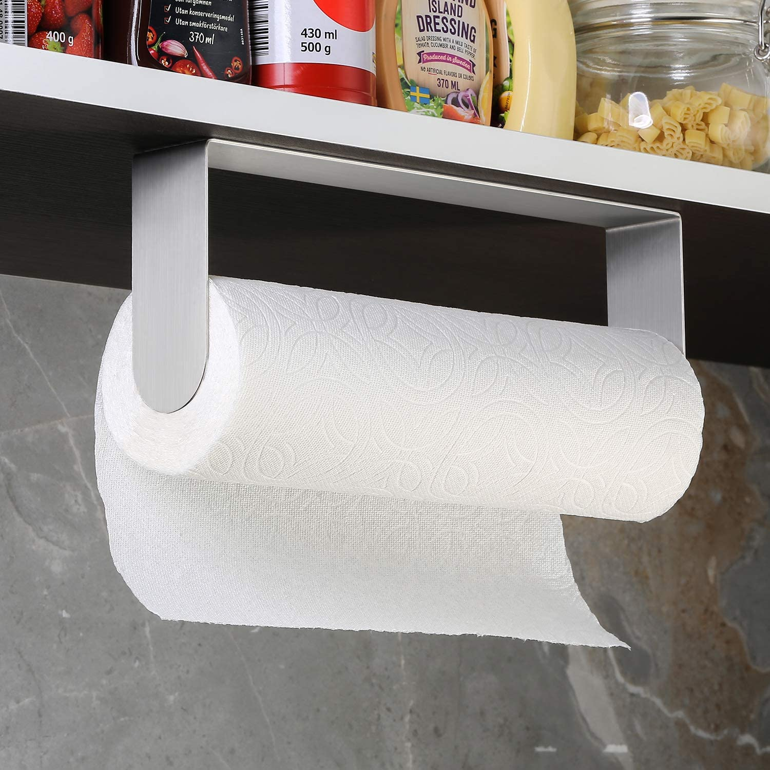 Stainless Steel Self Adhesive Paper Towel Rack for Large Paper Roll Stick on Kitchen Vertical or Horizontal DAOYA Paper Towel Holder Under Cabinet