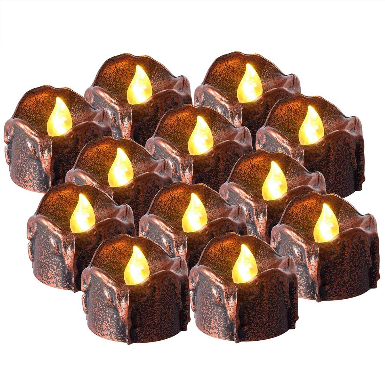 傷つけるミスわざわざPChero LEDキャンドル 蝋燭 ハロウィーン 揺らぐ炎 癒しの灯り 電子キャンドル バッテリー付 パーティー 宴会 クリスマス 結婚式 祝日 お祭り 12個 タイマー付き6時間点灯18時間オフ