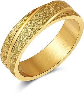 Scddboy Men's Wedding Bands مشطوفة الحواف خاتم محفور ذهبي مصقول إطار حبيبي أخدود
