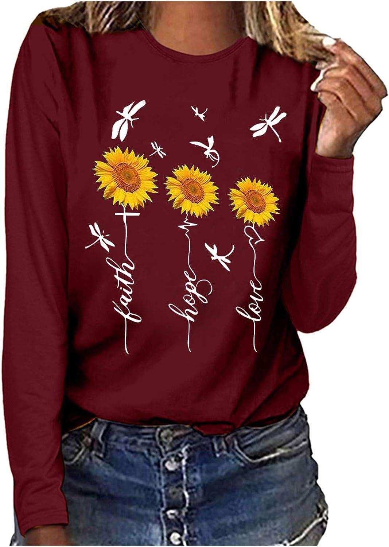 POLLYANNA KEONG Women Long Sleeve Blouses, Women Long Sleeve Sweatshirt Casual Vintage Graphic Basic Blouses