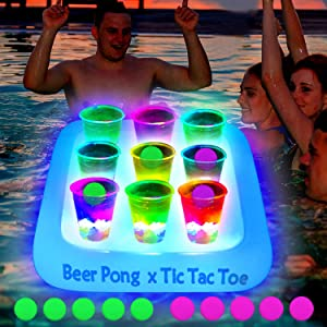 23x23 Inch Glowing Tic Tac Toe Pool Party Rack Floating Beverage Pong Rafts, Swimming Pool Pong Game and Drink Holder, Includes 1 Rafts 9 Cups and 10 Pong Balls, Flashing Color