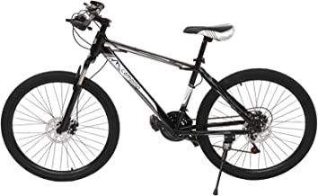 Bike 21 Speed, 24 Inches High Carbon Steel Frame, Double Disc Dual Suspension Bicycle, Black and White