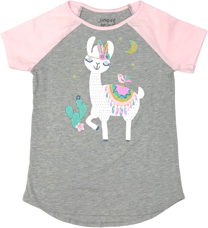 Jumping Beans Girls Short Sleeve Gray & Pink Sparkle Llama T-Shirt Tee Shirt