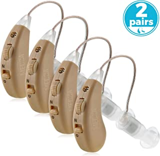Digital Hearing Amplifier Set - (2 Pairs) 4 Rechargeable & Noise Cancelling Hearing Amplifiers with One Touch Volume Control, No Programming Required, Near-Invisible Behind The Ear, USB Dock by MEDca