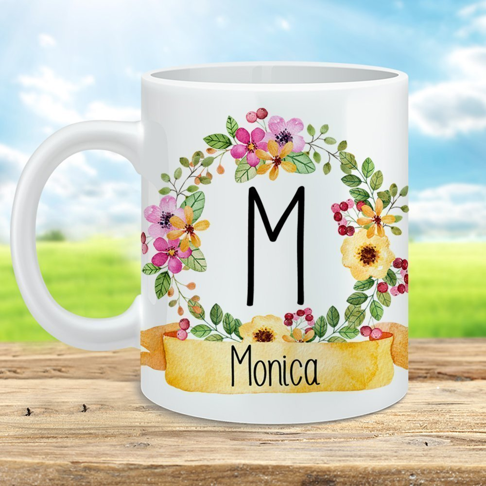Personalized Name Coffee Mug Super beauty product restock quality top 35% OFF Monogram Cup wit Floral Initial