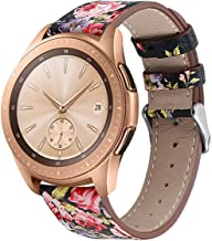 Compatible Galaxy Watch Active (40mm) Leather Bands, 20mm Feminine Replacement Wristband Strap Bracelet for Samsung Galaxy Watch Active (40mm)/Galaxy Watch (42mm)/Gear Sport Smart Watch (Flower-2)