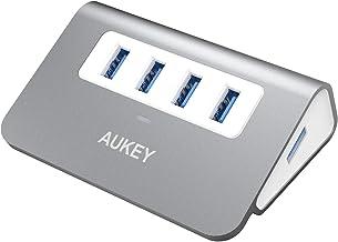 AUKEY Hub USB 3.0 4 Puertos Aluminio SuperSpeed 5Gbps con Cable USB 3.0 50cm y LED para Apple MacBook, Macbook Air, Macboo...