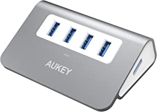 AUKEY USB Hub 3.0 Portable Aluminum 4 Port USB 3.0 Data Hub with 1.6ft USB Cable for MacBook Air, Mac Mini, iMac, Laptop, PC, USB Flash Drives, HDD Hard Drive (Grey)