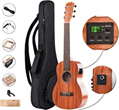 Left Handed - Caramel 6 Strings CB402GL All Solid Mahogany Acoustic Electric Ukulele Guitalele with Truss Rod with Strings, Padded Gig Bag, Strap and EQ cable