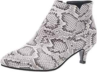 Women Ladies Ankle Boots with Thin Heels,KCPer Snakeskin Leather Pointed Toe Wide Calf Cowboy Boots Booties Shoes Stilettos
