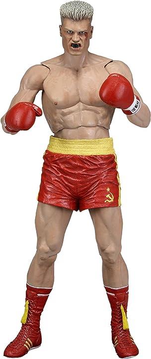Ivan drago figura action 18cm con pantaloncini rossi da rocky iv - rocky 40th anniversary serie 2 neca u.s.a 53077
