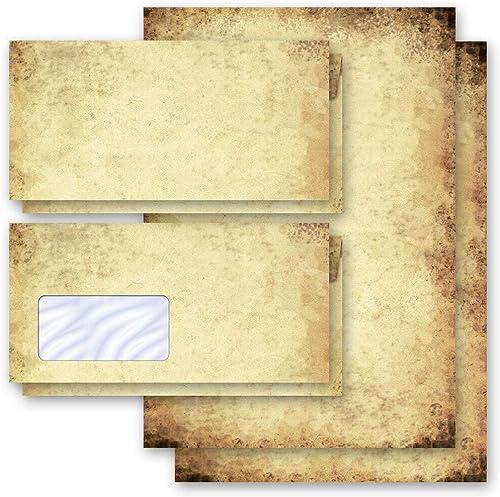 Motif-ensembles de papeterie Antique & Histoire, VIEUX PAPIER 50 feuilles de papier à lettres et 50 enveloppes DIN LO...