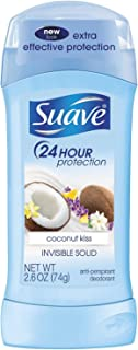 Suave Deodorant 2.6 Ounce 24Hr Coconut Kiss Invisible Solid (76ml) (2 Pack)