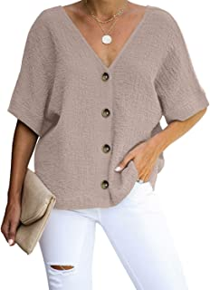 Aleumdr Women's Button Down V Neck Tops Loose Casual Short Sleeve Shirts Blouses