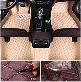 Custom Car Floor Mats for KIA Cerato 2003-2011 Leather Custom Fit All-Weather Protection Floor Liners Waterproof Foot Pad Carpets Beige