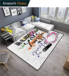 I Love You Print Rug, Valentines Love You with All My Heart Grunge Sketchy Notebook Style Couples Durable Rugs - Living, Dinning, Office, Rooms & Bedrrom, Hallway Carpet, (5'x 8') Multicolor