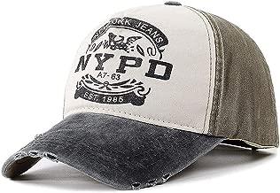 THY trade Personalidad Algodón Lavado Gorra de béisbol Impresión Creativa de NYPD Gorra Polo Simple al Aire Libre Hip-Hop Street Dance Hat Unisex Ajustable Transpirable Trucker Dad Cap
