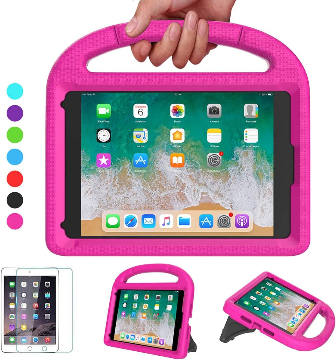 VICVOL iPad Mini 5 4 3 2 1 Case for Kids, Durable Lightweight Shockproof Handle Stand Protective Case with Screen Protector for 7.9-inch iPad Mini 5th/4th/3rd/2nd/1st Generation, Pink
