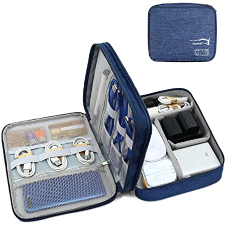 Styleys Double Layer Gadget Organizer Case, Portable Zippered Pouch for All Small Gadgets, HDD, Power Bank, USB Cables, Power Adapters, etc (Navy Blue - S11029)