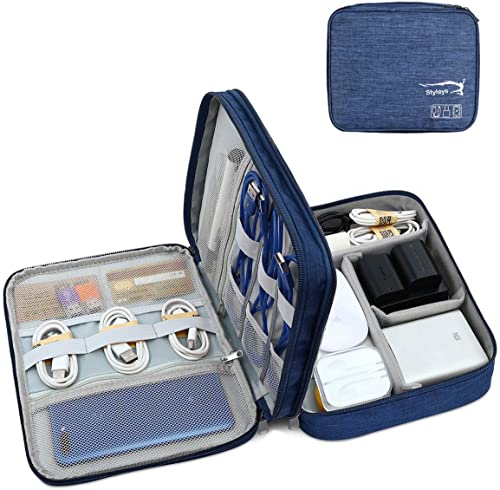 Styleys Double Layer Gadget Organizer Case, Portable Zippered Pouch for All Small Gadgets, HDD, Power Bank, USB Cable...