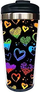 Waldeal LGBT Pride Travel Coffee Mug with Flip Lid, Lesbian Gay Love Rainbow Heart Stainless Steel Tumbler Cup Water Bottle 15 OZ, Birthday Anniversary Mug for Girlfriend Boyfriend
