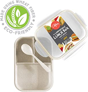 Bento Box Lunch Container, 3 Compartment Food Box for Meal Prepping, Reusable Meal Prep Container with Spoon & Grey Lid, Food Prep Lunchbox for Kids & Adults, Divided Food Storage Container with Lid