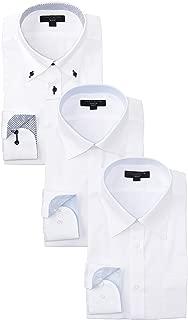 [タカキュー] 長袖 ワイシャツ 形態安定 スリムフィット ビジネスシャツ メンズシャツ 3点セット