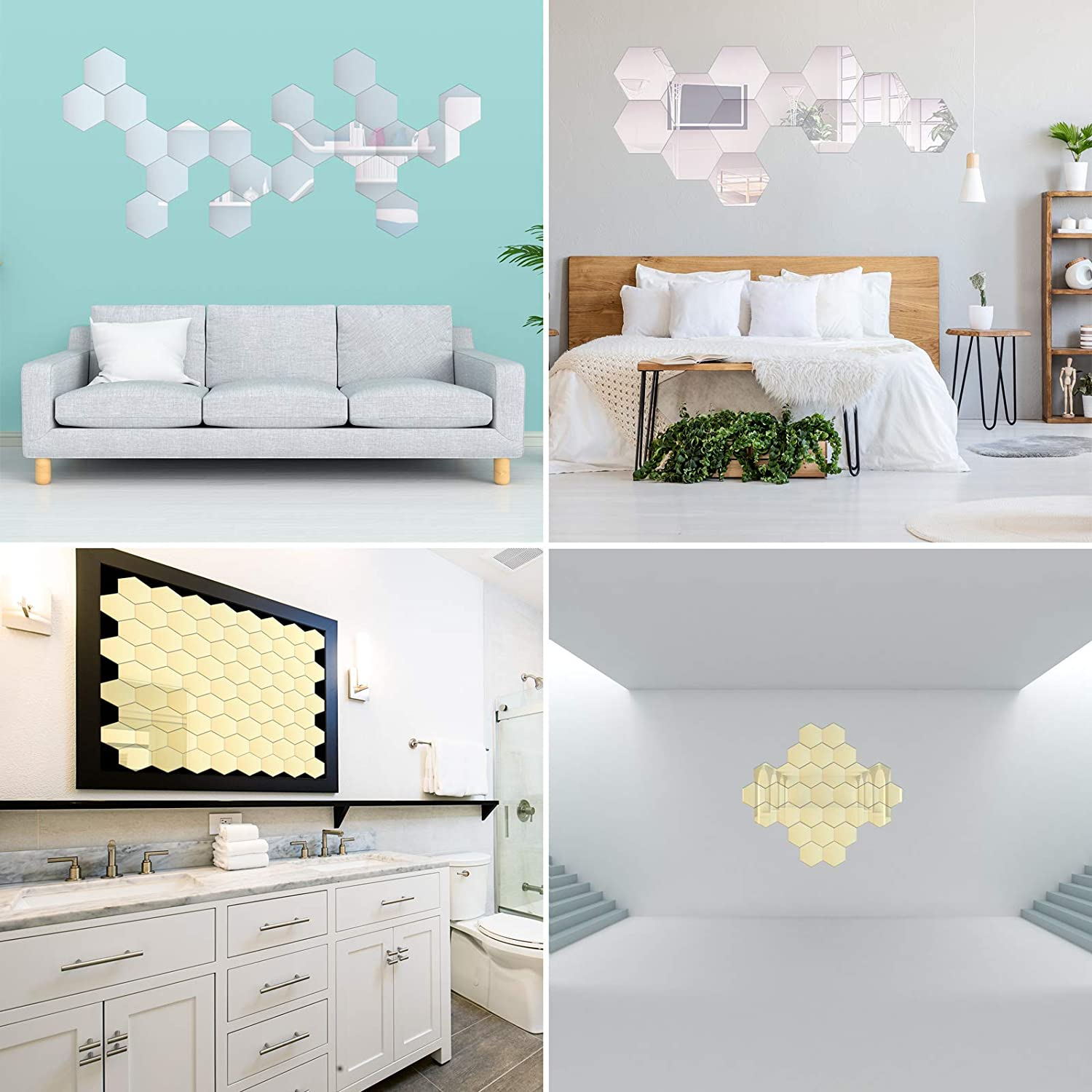 WADILE 12Pcs Removable Acrylic Mirror Setting Wall Sticker Decal for Home Living Room Bedroom Decor