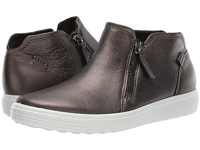 ECCO Soft 7 Zip Bootie (Black Stone Metallic Cow Leather) Women