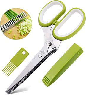 Herb Scissors with 5 Blades - Multipurpose Cutting Shears with Stainless Steel,Stripping Tool,Safety Cover and Cleaning Comb for Cutting, Shredding and Cooking Fresh Garden Herbs