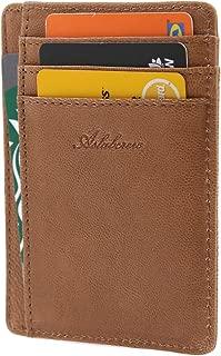 AslabCrew Slim Minimalist Front Pocket RFID Blocking Genuine Leather Wallets for Men Women