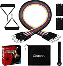 Clispeed 11PCS Resistance Bands Set Stackable Workout Fitness Bands with Door Anchor Ankle Straps Foam Handles Storage Bag...
