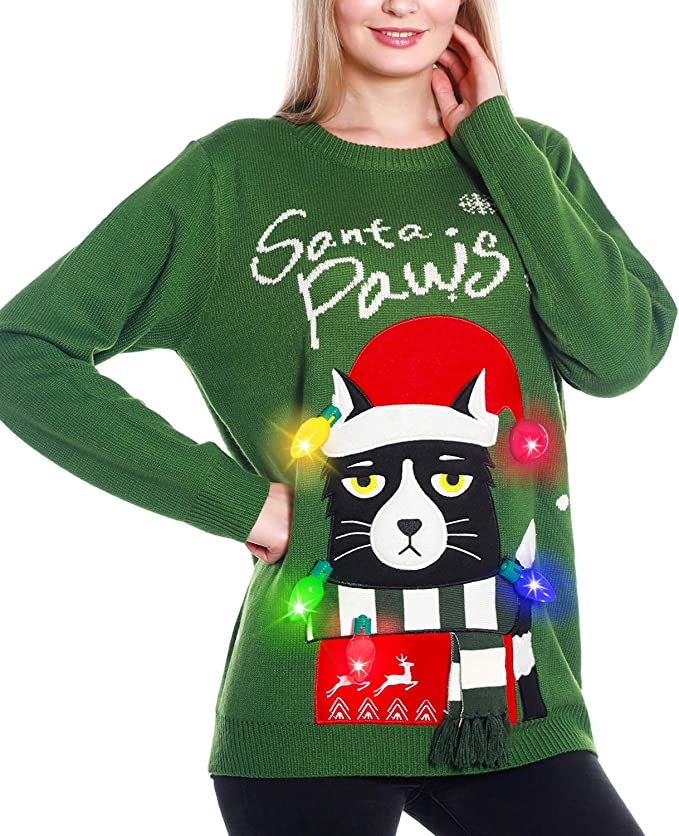 Light Up Women's Christmas Sweater, 3D Cat Ugly Sweater Knit Holiday ugly christmas sweaters for women
