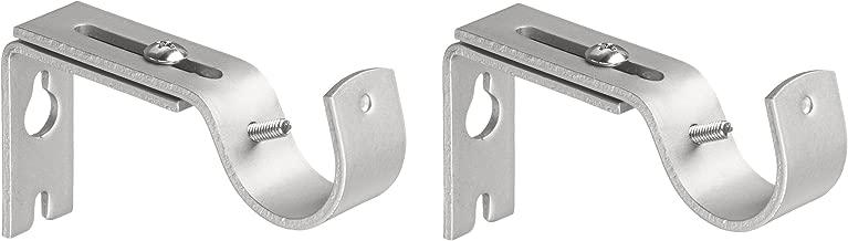 AmazonBasics Adjustable Curtain Rod Wall Bracket Hooks, Set of 2, Silver Nickel
