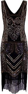 Vijiv Women's 1920s Flapper Dresses V Neck Sequin Beaded Great Gatsby Dress Evening Cocktail Party Black Gold L