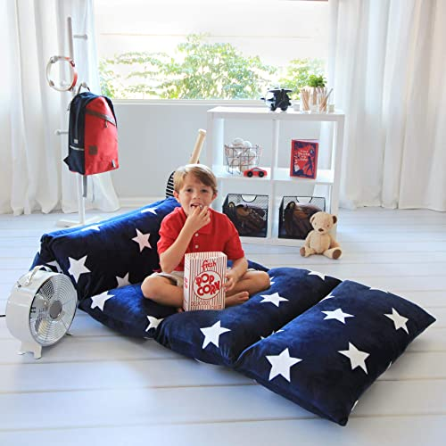Butterfly Craze Kids Floor Pillow Fold Out Lounger Fabric Cover for Bed and Game Rooms, Reading, Beanbag, Ottoman, Recliner, Chair, Couch Alternative. Blue. Queen Pillows Not Included
