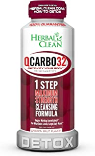 Qcarbo32 by Herbal Clean, Same Day Detox, Herbal Supplement, Detoxify Your Body The Very Same Day - New Flavor Dragon Fruit