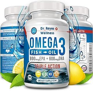 Omega 3 Fish Oil Triple Ultimate Strength 3000mg | 180 Capsules | 1200mg EPA 900mg DHA | Pharmaceutical Grade High Potency Doctor Formulated Supplement | Natural Burpless Lemon Flavor | Men Women