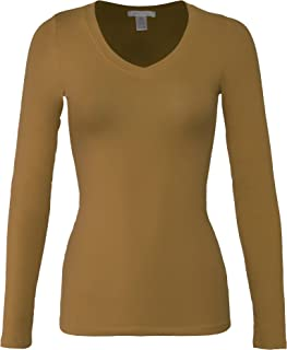 Bozzolo Women's Basic V-Neck Warm Soft Stretchy Long Sleeves T Shirt